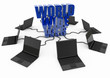 World Wide Web with laptop computer - blue -