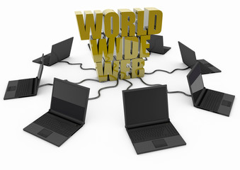 World Wide Web with laptop computer - yellow -
