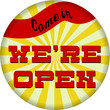 vintage we're open sign hanging, isolated on white background