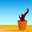 flowerpot with man vector illustration
