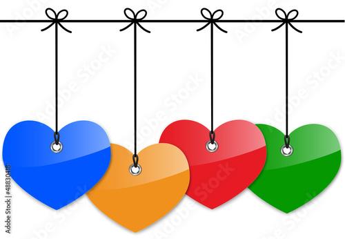 Glossy heart tags
