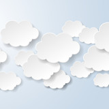 Abstract speech bubbles in the shape of clouds used in a social