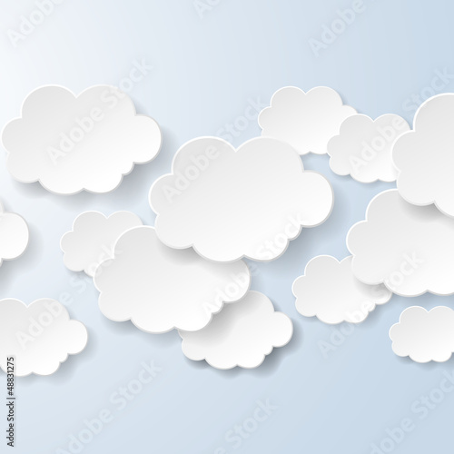 Fridge magnet Abstract speech bubbles in the shape of clouds used in a social