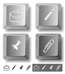Business icon set. Computer keys. Vector illustration.