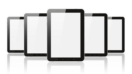 Many digital tablet pc on white background.