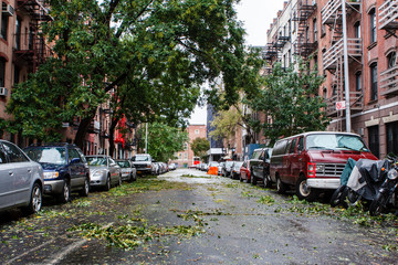 Dirt on the street after hurricane Sandy in New York City