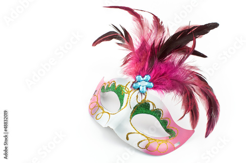 Carnival mask with feathers and diamon