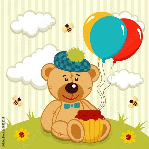 teddy bear  with a pot of honey