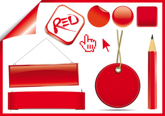 Etichette, box e simboli rossi