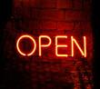 canvas print picture - Neonröhren-Schild Wort Open