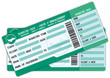 Two Boarding passes. Green and blue flight coupons.