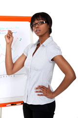 Businesswoman pointing to a chart during a presentation