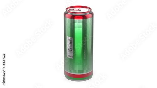 Beer can rotates on white background