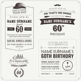 Set of adult birthday invitation vintage typographic design poster