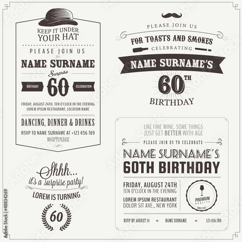 Set of adult birthday invitation vintage typographic design