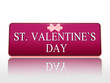 st. valentines day purple banner with ribbon