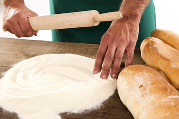 Baker preparing bread dough