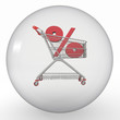 crystal ball with shopping cart and percent inside