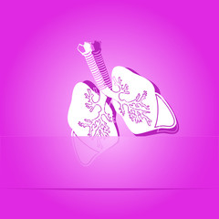 Lungs. Paper sticker. Vector illustration.