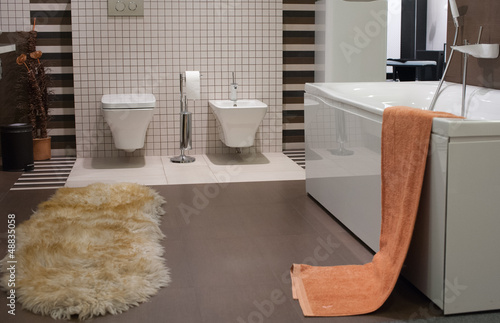 bathroom and toilet with modern decor