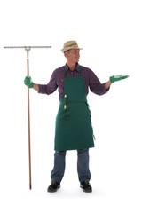 Gardener holding gardening tool