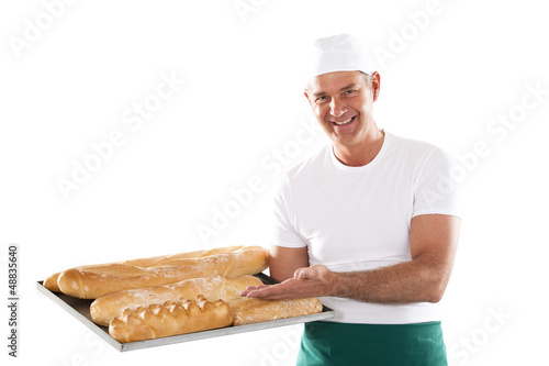 Chef preparing menu Baker holding tray with bread