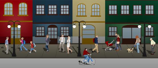 Gente paseando por la ciudad