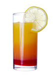 Tequila Sunrise long drink , isolated on white
