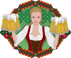 blonde with beer