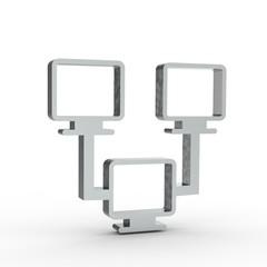 3d Icon Netzwerk Silber