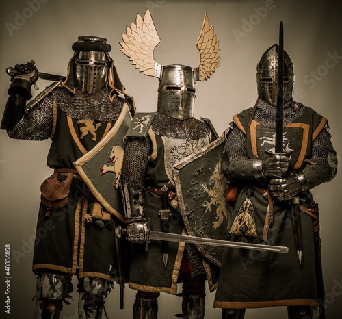 Company of medieval knights in armour