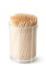 Toothpicks in transparent plastic box