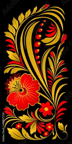 floral ornament in traditional Russian style © sergeystt