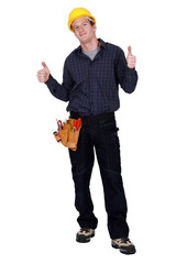 Carpenter giving two thumbs up