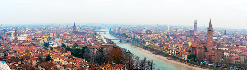 Panoramic view of Verona, Italy With Santa Anastasia Church and