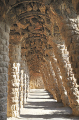 Park Guell designed by architect Antoni Gaudi in Barcelona.