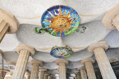 Modernist architecture in barcelona. Park Guell by Antonio Gaudi