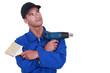 Handyman on white background