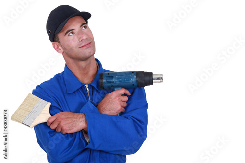 Handyman on white background