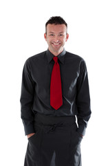 Server wearing black shirt and apron