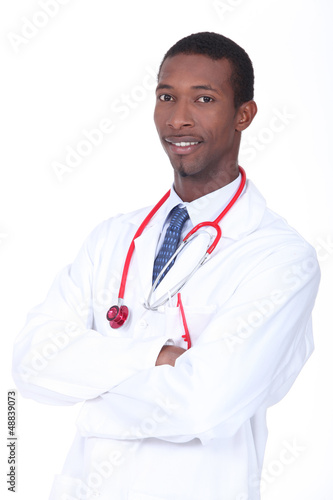 Studio shot of a doctor in a white coat