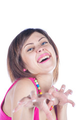 young woman makes a funny face