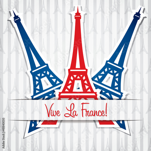 Eiffel tower sticker Bastille Day card in vector format.