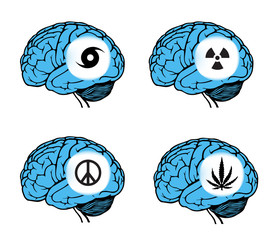 set of signs on blue human brain