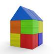 Buntes Haus aus Bauklötzen isoliert