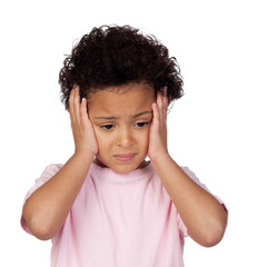 Sad latin child with headache