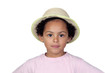 Happy african child with a straw hat