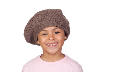 Happy african child with a wool hat