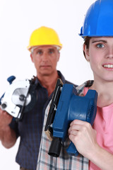 man and woman carpenters