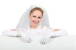 Bride with advertising board
